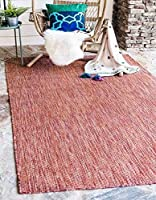 Unique Loom Outdoor Solid Collection Rust Red 5 x 8 Area Rug (5' x 8') [並行輸入品]