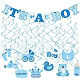 Tinksky 30pcs IT'S A BOY Banner Boy Baby Shower Dizzy Danglers Spiral Hanging Decoration for Parties (1Banner + 20Dizzy Danglers + 10Cards) [並行輸入品]