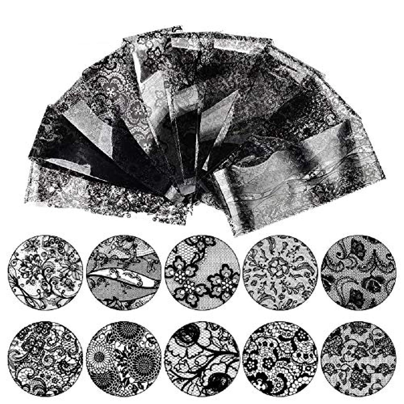 吸収するブローサイレンMINAKO 10枚セットネイルシール ネイルステッカー 高品質 ネイルアート ネイルラップ ネイルアクセサリー レース ネイル用装飾 女性 レディースプレゼント ギフト 可愛い 人気 おしゃれ (ブラック-10枚セット)