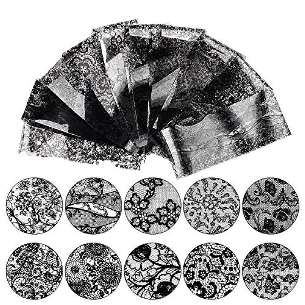 土砂降り留め金くまMINAKO 10枚セットネイルシール ネイルステッカー 高品質 ネイルアート ネイルラップ ネイルアクセサリー レース ネイル用装飾 女性 レディースプレゼント ギフト 可愛い 人気 おしゃれ (ブラック-10枚セット)