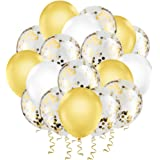 "Hianjoo Balloons Set [60 Pcs], 12"" Latex Confetti Balloons with 4 Roll Ribbon and 1 Dispensing for Birthday, Wedding, Decorat"
