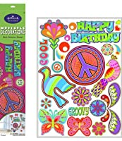Peace Signs Glow in the Dark Removable Wall Decorations Party Accessory [並行輸入品]