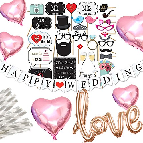Hanamei(ハナメイ)ウェディング パーティー 装飾 これひとつで!フォト セット 写真 撮影 フォトプロップス LOVE バルーン ハート HAPPY WEDDING ガーランド 結婚式 2次会 pa018 (ピンク)