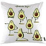 oFloral Avocado Throw Pillow Covers Cartoon Avocado Doing Yoga Poses and Fruits Decorative Square Pillow Case 18X18 Pillowcas