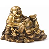 Brass Sitting Laughing Buddha with Money Frog Protect House Peace Wealth Decoration Art Deco Gold