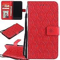 Ooboom Sony Xperia L2 ケース 葉 パターンレザー 便利な保護 手帳型 横開き カバー 革 高級PU マグネット式ド収納 スタンド機能 財布型 カバー リストストラップ ために Sony Xperia L2 - 赤