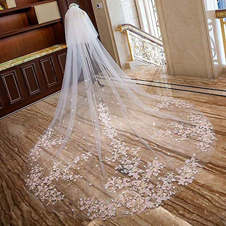 数学的なオークランド鯨ベールウェディング レースの床の長さのベールの結婚式の大聖堂の付属品が付いている女性の花嫁の毛のベール (Color : Ivory white, Size : 400cm*300cm)