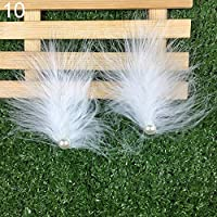 goupgolboll-2本羽ヘアクリップフェイクパールラインストーンヘアピンパーティーヘッドウェアヘッドドレス - 10