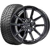 【2017年製】国産スタッドレスタイヤ(185/65R15)+ホイール(15インチ) 4本SET(1台分)■Cセット:G-speed G-02[メタリックブラック]