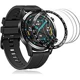 Huawei Watch GT 2 46mm ベゼルリング+ガラスフィルム 保護ベゼルカバー アンチリング 傷防止 耐指紋 液晶保護フィルム 9H硬度(小字,ブラック)