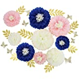Mybbshower Navy Blue Pink DIY Paper Flower Decorations for Wall Backdrop Bridal Shower Decorations Nautical Wedding Centerpie