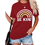 Beautife Womens Graphic Tees Rainbow Letter Printed Tops Be Kind Short Sleeve Crewneck T Shirts