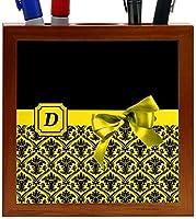 Rikki Knight Letter D Yellow Monogram Damask Bow Design 5-Inch Tile Wooden Tile Pen Holder (RK-PH41825) [並行輸入品]