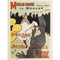 Toulouse-Lautrec Dancer La Goulue Moulin Rouge Advert Large XL Wall Art Canvas Print アンリドトゥールーズロートレックダンサー広告壁