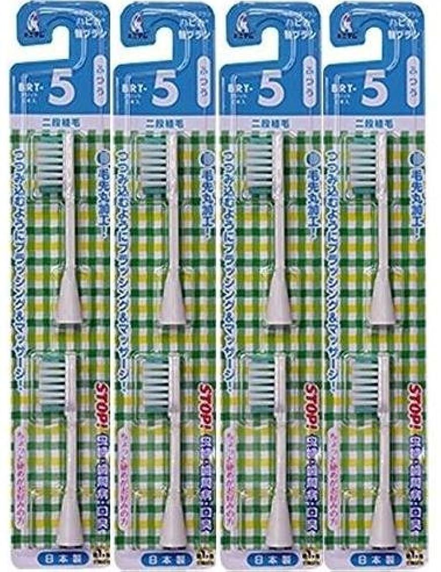 磁石ビュッフェ不機嫌電動歯ブラシ ハピカ専用替ブラシふつう 2段植毛2本入(BRT-5T)×4個セット