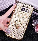 Galaxy s7Edgeケース, Samsung Galaxy s7Edgeケース、かわいいハイブリッドバンパーシリコンゴムジェルShiny Bling Glitter Makeup Case withリングスタンドホルダー