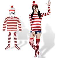 ハロウィン 仮装 大人 レディース コスプレ ウォーリーを探せ コスチューム 女の子 4点セット(シャツ・帽子・メガネ…
