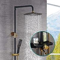 サーモスタットシャワーすべての銅、ブラックゴールドシャワーコスチューム壁クロームライトシャワーバー完全にシャワー銅シャワーコスチューム
