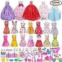 Rocita Barbie Accessories バービー人形 服 アクセサリー 超豪華セット【ワンピース14枚+ウエディングドレス5枚+色々なアクセサリー98点】Barbie Dress Wedding Dress 117pcs