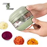 FUHUIM Mini Manual Food Chopper, Durable Hand Held Food Choppers and Dicers, An Extra Blade, Fits for Chopping Vegetables/Fru