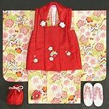 七五三着物3歳 女の子被布セット 小町kids(小町キッズ)ブランド クリーム色 被布赤地色 刺繍使い 八重桜 刺繍半衿に足袋付きフルセット