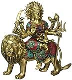 Durga Statue Hindu Goddess真鍮彫刻Maa Durga Kali Deviライオン置物インテリアギフト