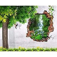 Wuyyii カスタム壁紙3D大きな木の鳥レンガの壁テレビの背景家の装飾リビングルームの寝室の背景壁画3Dの壁紙-150X120Cm