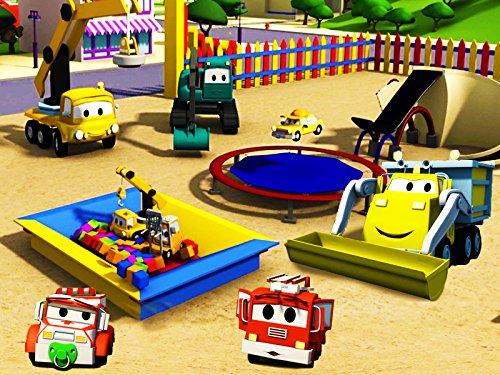 建設チーム: ダンプトラック、クレーン車とショベルカーがカーシティーにベビーたちの洗車場&トランポリンを建てる