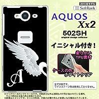 502SH スマホケース AQUOS Xx2 カバー アクオス Xx2 ソフトケース イニシャル 翼(ペア) 黒(左) nk-502sh-tp477ini A