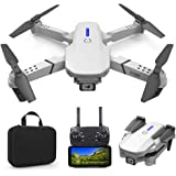 Foldable Mini Drone with 4K Double HD Camera Dual Lens 2.4G WiFi FPV RC Quadcopter (White) Gesture Control with Carry Case, 3