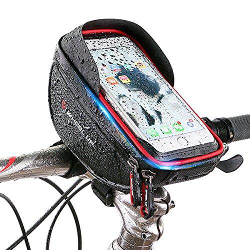 SOONHUA 自転車ホルダー 防水 防塵 バイクスタンド 自転車の取っ手 タッチスクリーン トランクバッグ 収納パック Andriod/iPhone/GPSに対応 両色に選択 (ブラック+レッド)