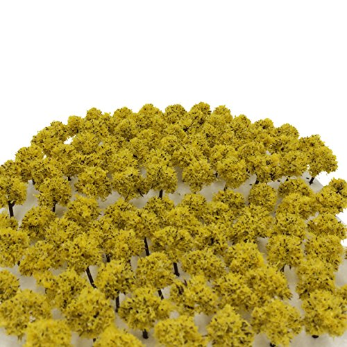 森林 選べる 色 数量 50本 100本 【DauStage】 Nゲージ ジオラマ 鉄道 建築 模型 用 樹木 風景 3㎝ (16,黄色 100本)