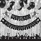 2019 卒業パーティー用品デコレーション We Are So Proud of You バナー ブラックとシルバー 卒業パーティー用品キット ラテックスバルーン 星型ホイルバルーン ゴールドカーテン SG039