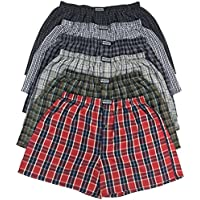 ToBeInStyle Men's Pack of 6 Button Fly Loose Fit Tartan Plaid Boxers