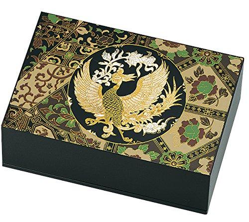 中谷兄弟商会 山中漆器 5.0匠 宝石箱(別珍付) 黒 15X10Xh5.3cm 正倉院風鳳凰 33-3709