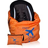 Car Seat Travel Bag and Carrier for Gate Check with Travel Pouch - Bright Orange with Blue Letters for Airport, Airplane Gate