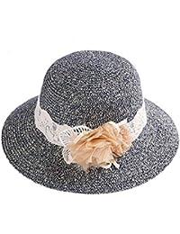 軽量 快適 バイザー 女性 ビーチ 休日 麦わら 帽子 花の装飾