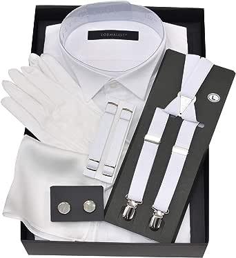 タキシードステーション ウイングカラーシャツ小物5点セット【最強コスパ】チーフ(白プレーン)、カフスボタン白、サスペンダー白、アームバンド白、手袋 (首37cmゆき丈78cm)