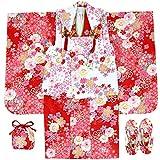 七五三 三歳着物 被布8点セット ガールズ 花柄 赤色 N1577