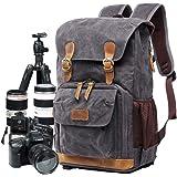 Camera Bag, Canvas SLR DSLR Camera Backpack Large Capacity Front Open Waterproof Anti-Shock Camera Rucksack Camera Travel Bag