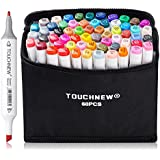 60 Set Color Alcohol Art Dual Tip Sketch Pen Art Sketch Twin Tip Marker Pen Set + Pencil Bag (General Design 60-White)