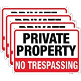Large No Trespassing Signs Private Property Metal 10x14 Inch Rust Free Aluminum,UV Ink Printing,Durable/Weatherproof Up to 7