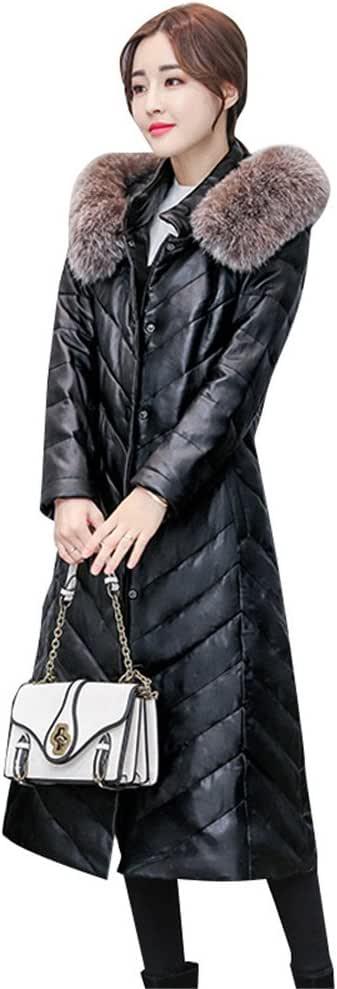 レザーダウンコートレディース ロング丈 ビジネス大きいサイズフェイクレザー ダウンジャケットキレイめ フード付き down jacket 暖かいレディースダウンコート フェイクファー付き取り外し可防寒 M-5XLトレンチコート ロングダウンコート
