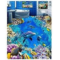 山笑の美 壁紙壁画床イルカ3D床壁紙ホームデコレーション自己接着3D床3D壁画床-120X100CM
