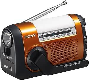 ソニー SONY ポータブルラジオ ICF-B09 : FM/AM/ワイドFM対応 手回し充電対応 オレンジ ICF-B09 D