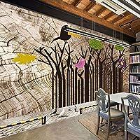 Ansyny 壁画レトロな森林キツツキ木製の背景壁ステレオ壁紙ロビー-220X140CM