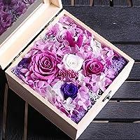 YKFN ローズ バラ プリザーブドフラワー 枯れない花 ガラスドーム アレンジ 花 お誕生日 お祝い 結婚祝い ギフト 開店 お返し 贈り物 カード付き