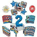 Mayflower Products きかんしゃトーマス タンクエンジン 2歳の誕生日パーティー用品 8人用 デコレーションキットとバルーンブーケ