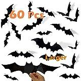 Halloween Decorations Bats Décor , 60 Pcs 3D PVC Paper Bats for Wall Decor Scary DIY Flying Bats Stickers , Halloween Indoor