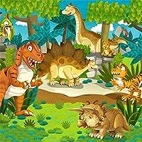 LFEEY 6×6フィート カートゥーン 恐竜 背景幕 パーティー コミック ジュラシック 時代 古代 恐竜 動物 生き物 恐竜 木製 写真 背景 子供 誕生日 イベント フォトスタジオ 小道具